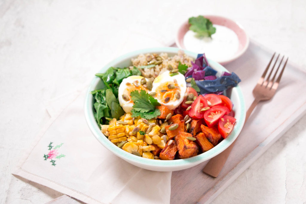 Rainbow Nourish Bowl with Yogurt Dressing (Low FODMAP, GF)