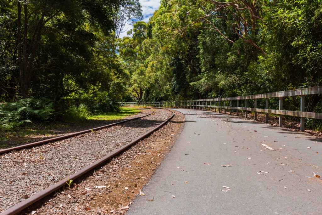 Healthy Weekend Getaway in Newcastle Australia Walking and cycling track besides old rail tracks Fernleigh track Newcastle Australia