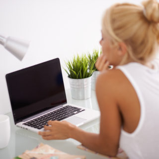Blonde woman at her workspace