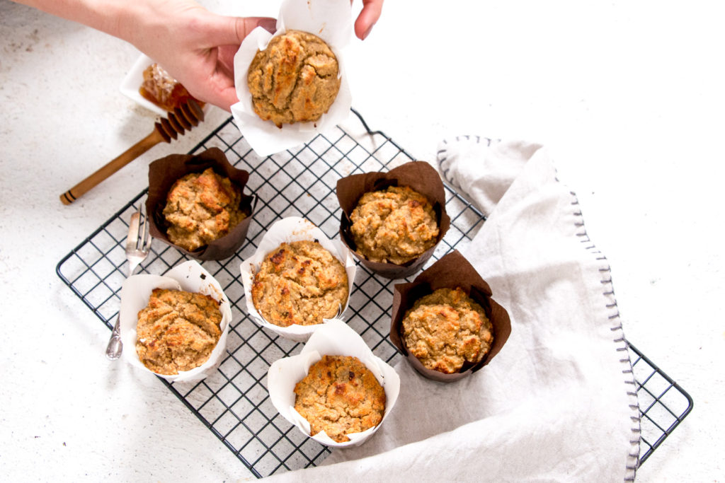 Banana Bread Muffins {high protein, sugar free, gluten free} in white paper patty