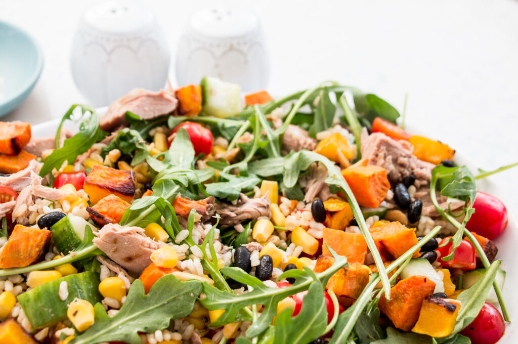 Tuna, Black Beans and Roast Pumpkin Rice Salad with tomato, pumpkin, corn, rice, sweet potato, cucumber