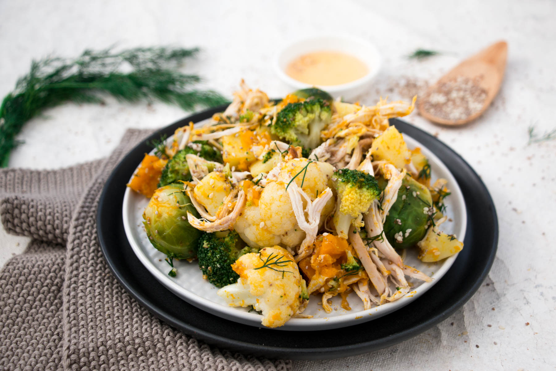 Winter Warming Chicken and Nutty Seasonal Vegetables Brussels sprouts, broccoli, potato, cauliflower, pumpkin, nuts