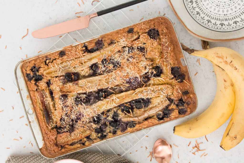 Baked Lupin Blueberry Breakfast Slice with Gut-loving Coconut Yoghurt Recipe