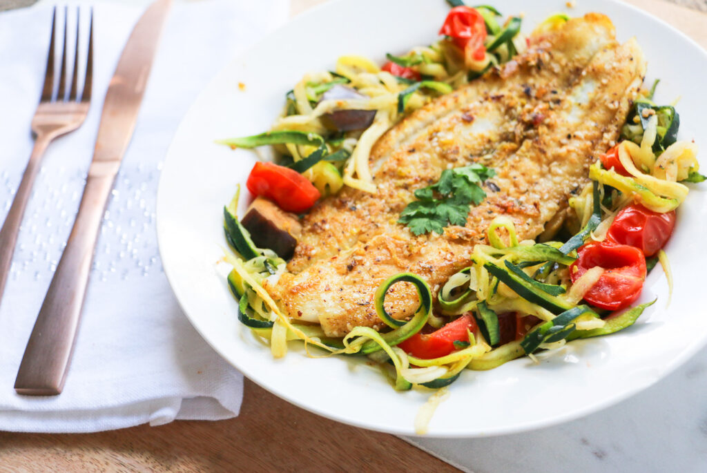 Moroccan grilled fish with zoodles