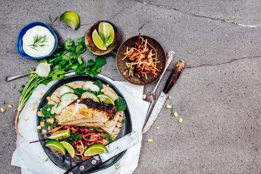 Moroccan roasted cauliflower with grilled fish tortilla