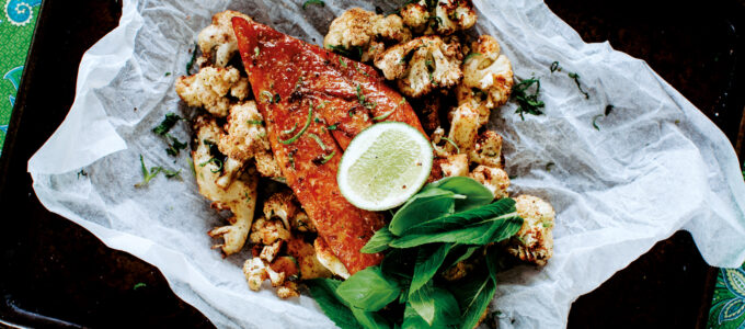 Moroccan roasted cauliflower with grilled fish